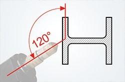 Rýchle a presné úkosové rezanie do 120°